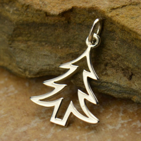 Sterling Silver Christmas Tree Charm - Flat