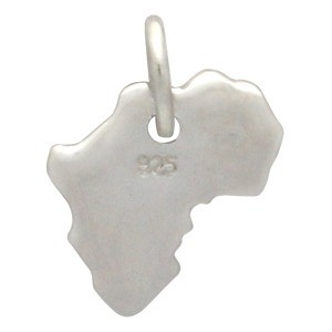 Sterling Silver Africa Charm 12x9mm