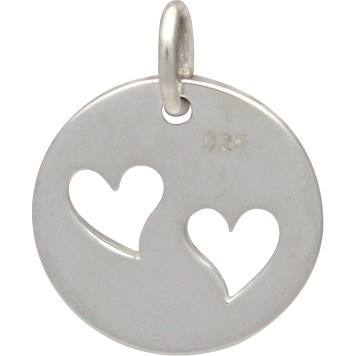 Sterling Silver Round Charm with Two Heart Cutouts