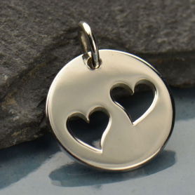 Sterling Silver Round Charm with Two Heart Cutouts 16x12mm