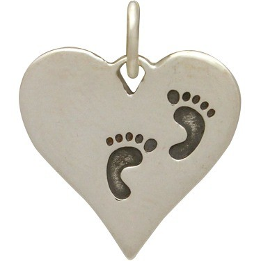 Sterling Silver Heart Charm with Etched Footprints 16x14mm