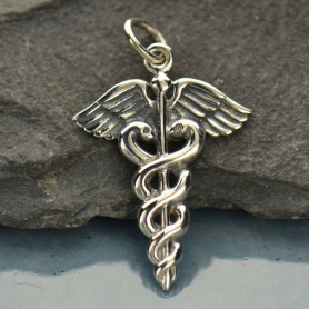 Sterling Silver Medical Staff Charm 26x16mm