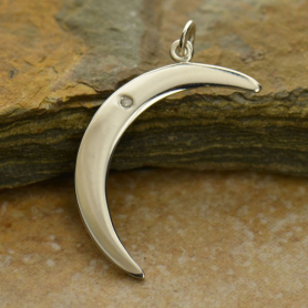 Silver Crescent Moon Charm with Genuine Diamond DISCONTINUED