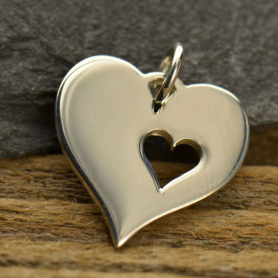 Sterling Silver Heart Charm with One Heart Cutout