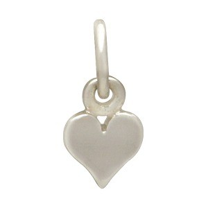 Sterling Silver Heart Charm - Tiny 11x5mm