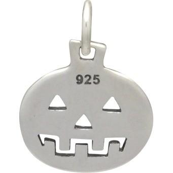 Sterling Silver Pumpkin Charm - Hallowen Charm 16x11mm