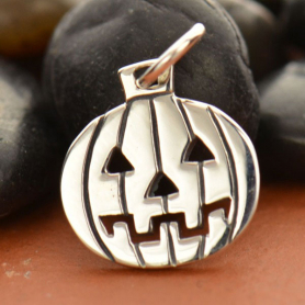 Sterling Silver Pumpkin Charm - Hallowen Charm 16x11mm