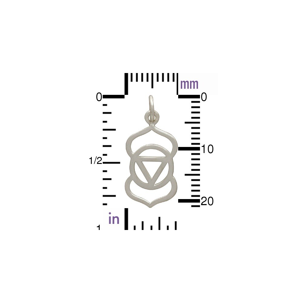 Sterling Silver Third Eye Chakra Charm - Yoga Charm 23x10mm