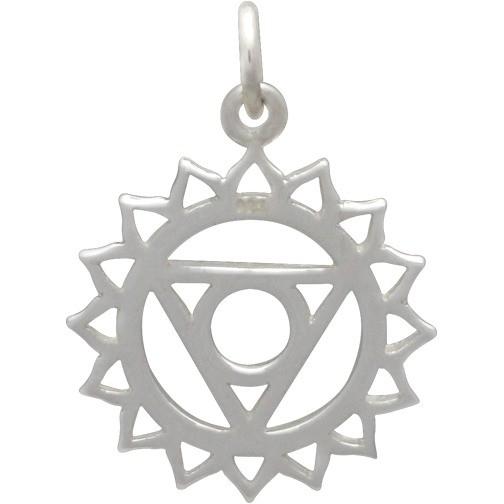 Sterling Silver Throat Chakra Charm  - Yoga Charm