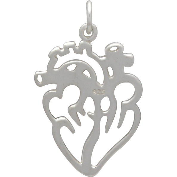 Sterling Silver Anatomical Heart Charm - Flat 26x16mm