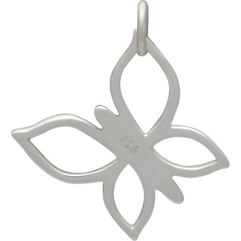 Sterling Silver Butterfly Charm - Openwork 22x19mm