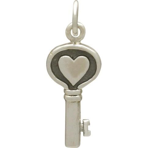 Sterling Silver Heart Key Charm 22x8mm