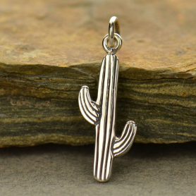 Sterling Silver Cactus Charm -24mm