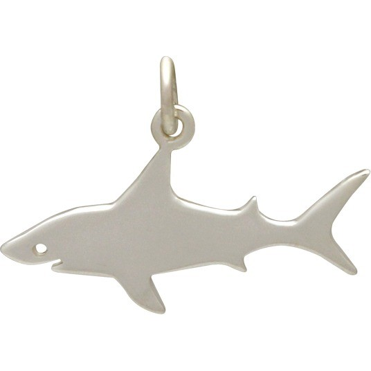 Sterling Silver Shark Charm - Beach Charm 17x24mm