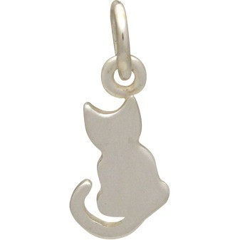 Sterling Silver Cat Charm - Pet Charm - Tiny