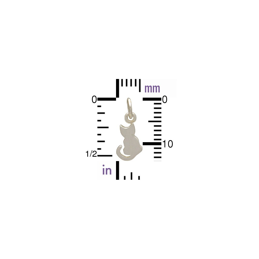 Sterling Silver Cat Charm - Pet Charm - Tiny 15x6mm