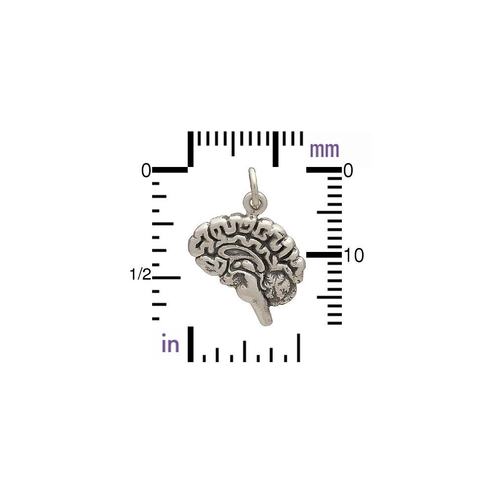 Sterling Silver Brain Charm 19x14mm
