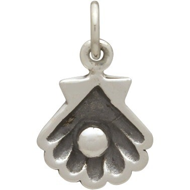 Sterling Silver Clam Shell Charm with Pearl 16x10mm