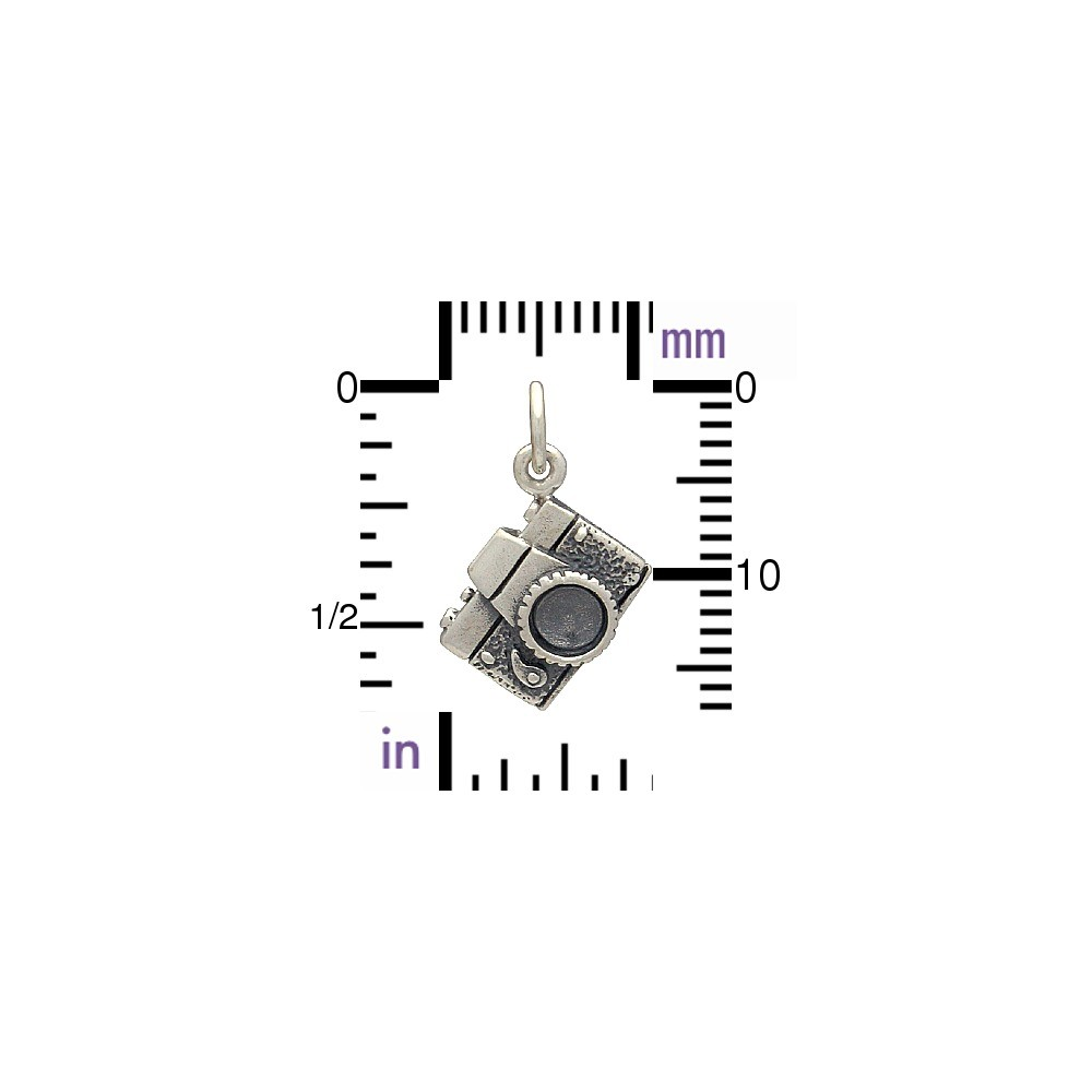 Sterling Silver Camera Charm - Hobby Charms 18x12mm