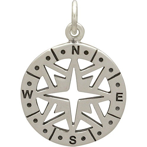 Sterling Silver Compass Pendant - Openwork 2x15mm