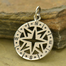 Sterling Silver Compass Pendant - Openwork