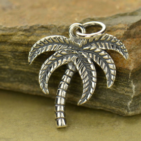 Sterling Silver Palm Tree Charm - Textured