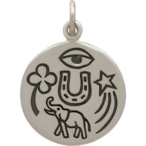 Sterling Silver Lucky Amulet Charm 21x15mm