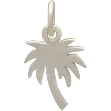 Sterling Silver Palm Tree Charm - Flat 16x9mm