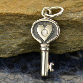 Silver Heart Key Charm with Genuine Diamond DISCONTINUED