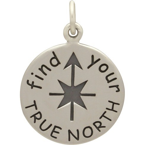 Sterling Silver Word Charm  - Find Your True North 21x15mm