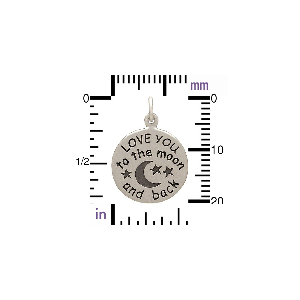 Silver Word Charm - Love You to the Moon and Back 21x15mm