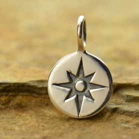 Sterling Silver Compass Rose Charm - Small