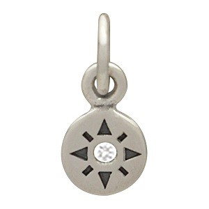 Sterling Silver Compass Rose Charm w Geniune Diamond 11x5mm