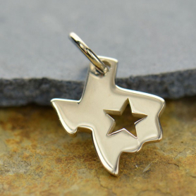Sterling Silver State Charm - Texas Charm with Star 15x11mm