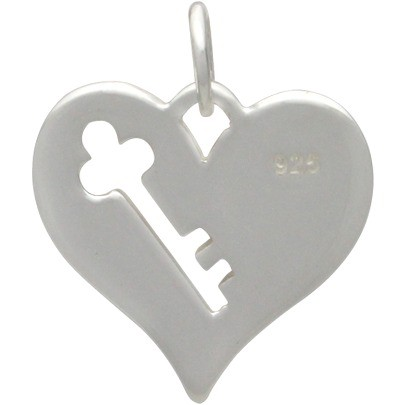 Sterling Silver Heart Charm with Key Cutout DISCONTINUED