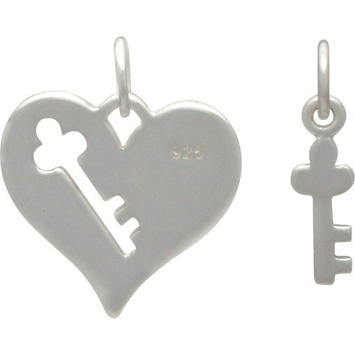 Sterling Silver Heart Charm with Key Cutout and Key -Set