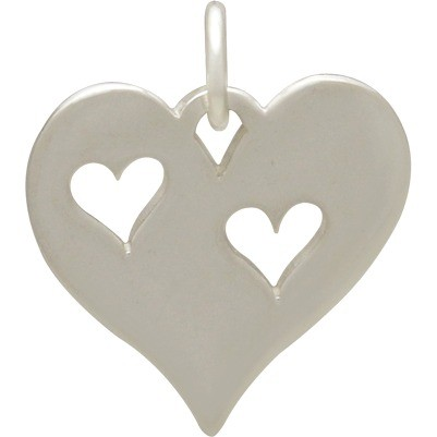 Sterling Silver Heart Charm with Two Heart Cutouts