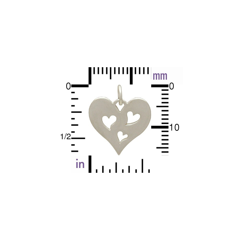 Sterling Silver Heart Charm with Three Heart Cutouts 17x15mm