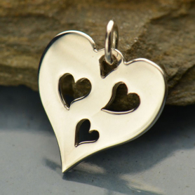 Sterling Silver Heart Charm with Three Heart Cutouts