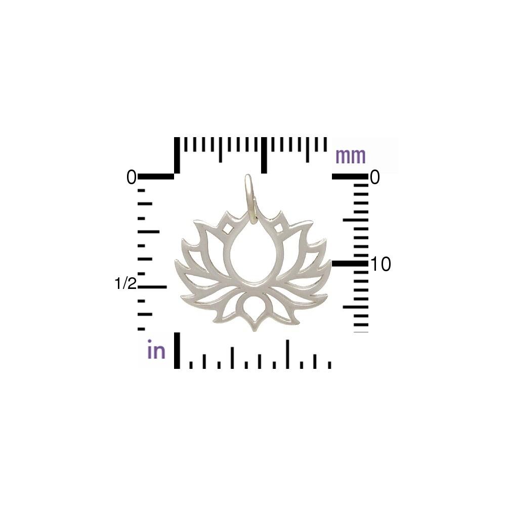 Sterling Silver Blooming Lotus Pendant - Symmetrical 18x18mm