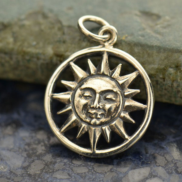 Sterling Silver Smiling Sun Face Charm Pendant on a Box Chain Necklace