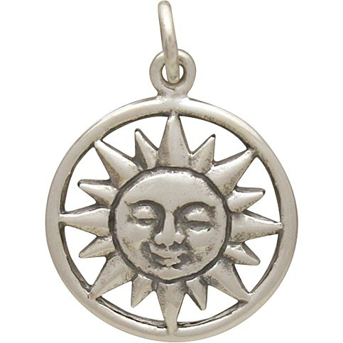 Sterling Silver Smiling Sun Charm