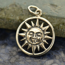 Sterling Silver Smiling Sun Charm 21x15mm