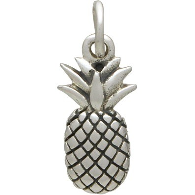 Sterling Silver Pineapple Charm - Textured 17x5mm