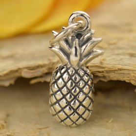 Sterling Silver Pineapple Charm - Food Charm - Textured