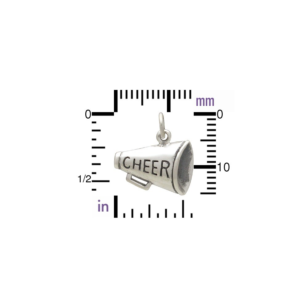 Sterling Silver Cheer Megaphone Charm 15x15mm