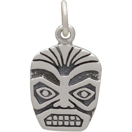 Sterling Silver Tiki Face Charm 18x9mm