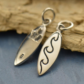Sterling Silver Surfboard Charm - Sports Charms