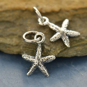 Sterling Silver Starfish Charm - Beach Charm - Tiny Textured