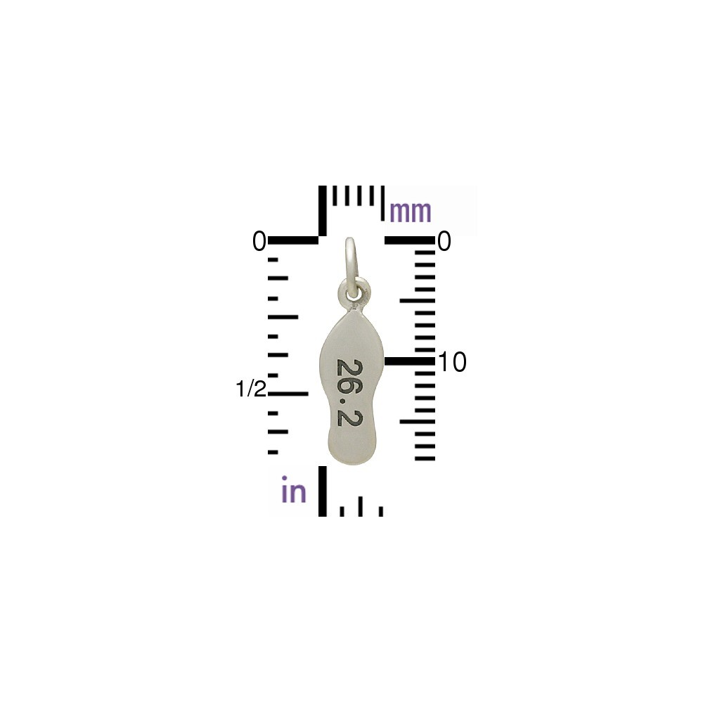Sterling Silver Marathon Charm - Sports Charms 19x5mm